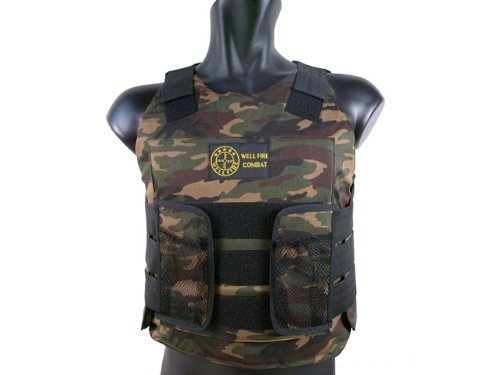 BBTac Airsoft Protection Vest, Padded Cushion (Woodland Camo) (Heavy Paintball Machine Gun)
