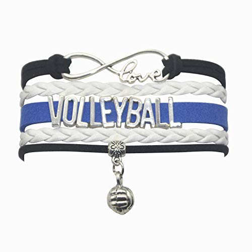 HHHbeauty Infinity Volleyball Bracelet Jewelry Girls Volleyball Charm Bracelet Friendship Gift for Women, Girls, Men, Boys, Teens, Teen Girls (Black White and Royal Blue)