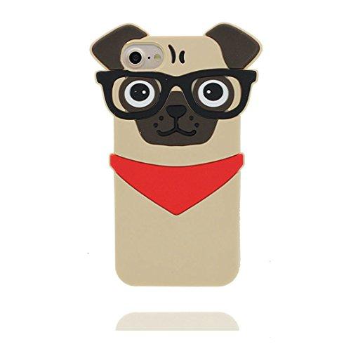 Coque iPhone 7, iPhone 7 étui, [ TPU durable flexible 3D Pug Dog Chien Chiot ] iPhone 7 Case 4.7 pouces, anti-chocs des empreintes digitales et Bouchon anti-poussière
