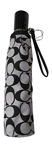 Black-White-Grey Coach Signature 42'' Collapsible Umbrella by Coach