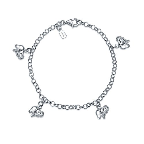 Multi Charm Dangling Elephant Bracelet For Women For Teen 925 Sterling Silver ()