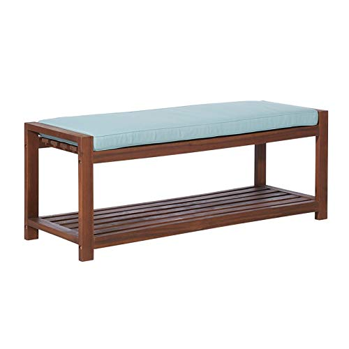 Walker Edison Furniture Company 48″ Outdoor Wood Patio Bench with Blue Cushion – Dark Brown