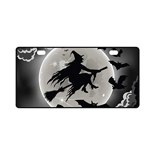 AAAnewstyleFrame Car License Plate Holders, Witch Silhouette with Bats Funny Halloween Theme Automotive,Auto Metal Car Bumper Accessories Tag Cover -