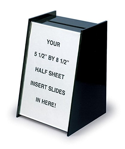 Displays2go Small Ballot & Suggestion Box with Sign Holder for Countertop, Black Acrylic (RBHS)