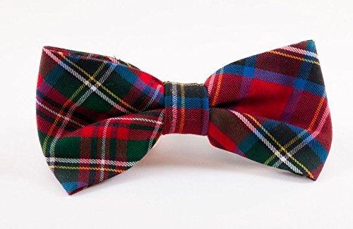 Red Scottish Tartan Plaid Dog Bow Tie