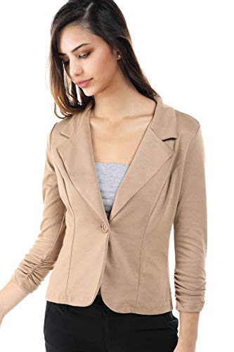 Fashion Magazine Womens One Button Office Knit Blazer Jacket,Made in USA (Small-3XL) Mocha