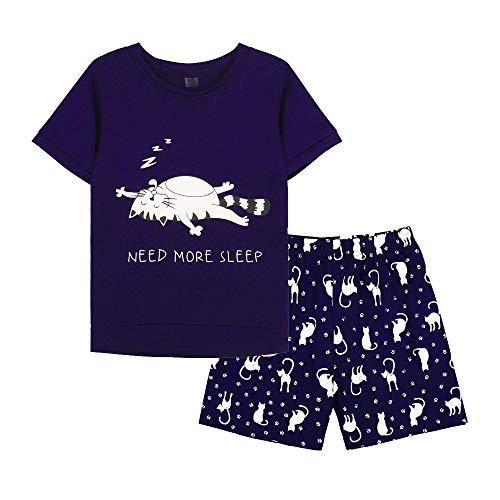 MyFav Young Girls Pajama Cute Cat Pattern Nighty Comfy Shorts Cotton Sleepwear Navy Blue