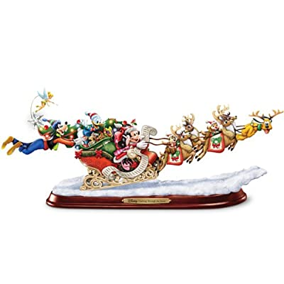 Disney Character Decorative Christmas Sleigh Sculpture: Dashing Through The Snow by The Bradford Exchange