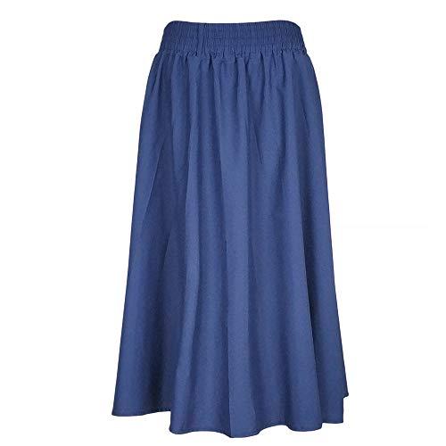 Kaachli Women's Casual Blue A line Midi Pull on Elastic Waist Fall Skirt (L, Blue) ()