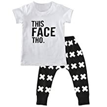 XUNYU 1-5T Baby Boys Infant Toddler Summer T Shirt Tops Casual Harem Pants Outfit Set