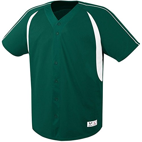 (High Five Impact Full-Button Jersey-Youth,Forest/White,Large)