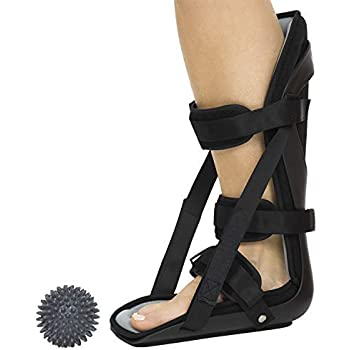 Vive Hard Plantar Fasciitis Night Splint and Trigger Point Spike - Stabilizer Brace Relieves Inflammation - Foot Support Boot Features Adjustable Hook and ...