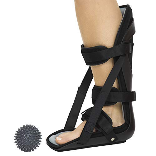 Vive Hard Plantar Fasciitis Night Splint and Trigger Point Spike - Stabilizer Brace Relieves Inflammation - Foot Support Boot Features Adjustable Hook and Loop Straps for Achilles Pain Relief