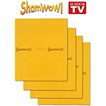 The Original Shamwow - Super Absorbent Multi-purpose Cleaning Towel Cloth, Machine Washable, Will Not Scratch, Orange (4 Pack)