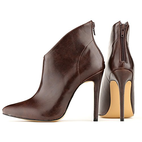 Stivali di da tacco Chiusura cerniera Hooh con con spillo donna a Décolleté Caffè xqx1Pa