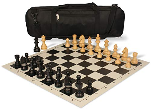 Chess Knight German Set - German Knight Carry-All Chess Set Package Ebonized & Boxwood Pieces - Black