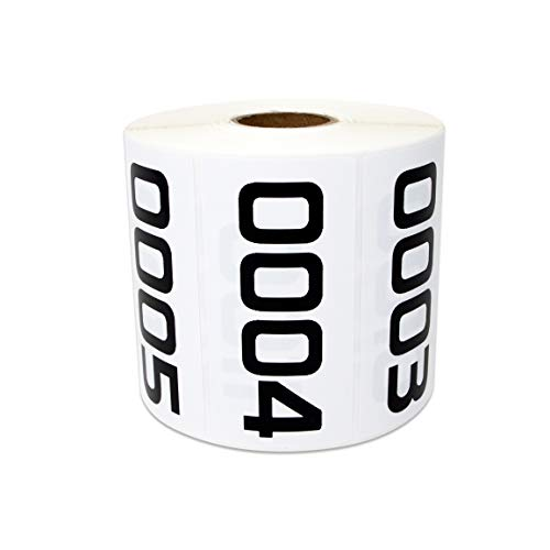1000 Labels - 0001 to 1000 Consecutive Number Stickers for Inventory Counting Quality Control (3 x 1.5 inch - 1 Roll) (Counting Stickers)