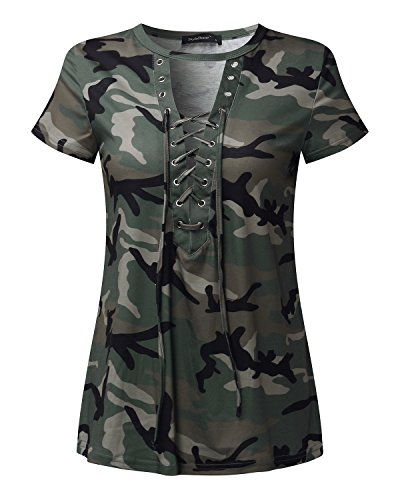StyleDome Camiseta Camuflaje Mujer Blusa Cuello Pico Elegante Deportiva Oficina Mangas cortas verde