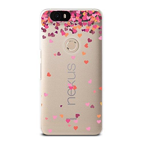 Nexus 6P Case, CasesByLorraine Little Pink Hearts Matte Transparent Case Plastic Hard Cover for Huawei Nexus 6P (A17)