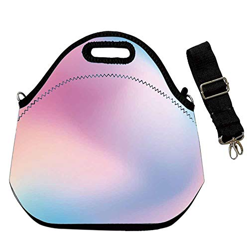 Pastel Practical Neoprene Lunch Bag,Abstract Blurry Colors Composition Sweet Daydream Fantasy Miscellaneous Decorative for School Trip Work,With Shoulder Straps(12.6''L x 6.3''W x 12.6''H) ()