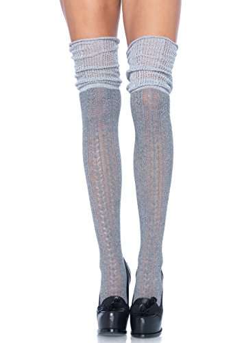 Leg Avenue Women's Pointelle Over The Knee Scrunch Socks, O/S, 4-Pair, Grey ()