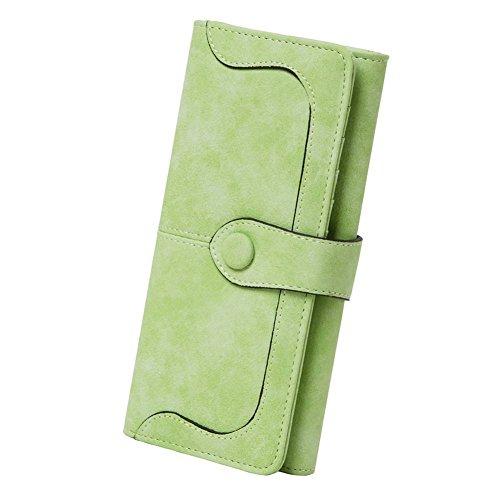Women's Vegan Leather 17 Card Slots Card Holder Long Big Bifold Wallet,Light Green -