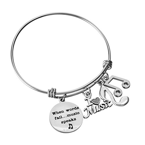 When Words Fail Music Speaks Charm Bracelet Adjustable Wire Bangle I Love Music Music Note Jewelry Gifts for Music Lover
