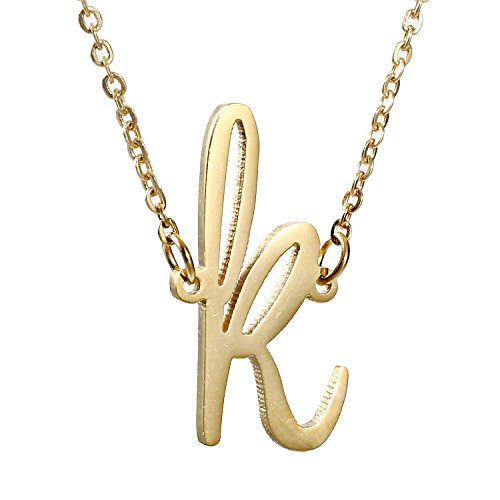 (AOLO Initial Necklace K Letters Alphabet Jewelry 14k Gold)