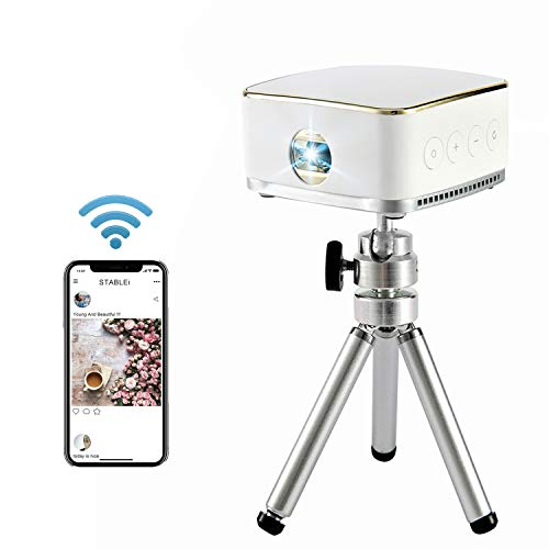 Stablei Portable Mini Handheld Projector 1080P HD, Synchronize Phone & PC Projection Screen, with Adjustable Focus/USB Charge/Micro SD/3.5mm Audio Output