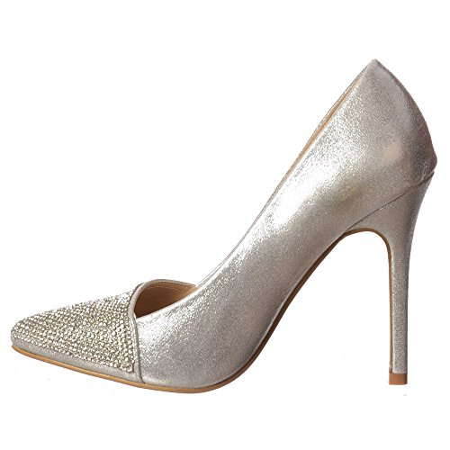 Onlineshoe Women's Diamante Encrusted Pointed Toe Mid Heel Party Shoes - Silver, Black Silver