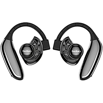 True Wireless Earbuds, DAVIKERY Bluetooth V4.2 Headphones HD Stereo Sound IPX5 Sweat & Water Proof Earphones with Mic for Gym Running Workout 8 Hour Battery Noise Cancelling Headsets