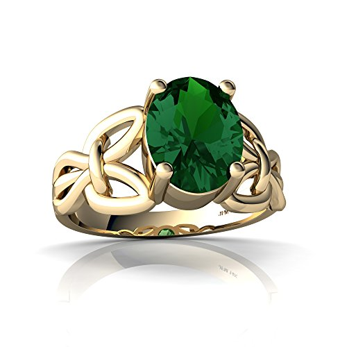 14kt Yellow Gold Lab Emerald 9x7mm Oval Celtic Knot Ring - Size 8 ()