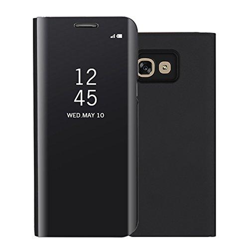 Funda Samsung Galaxy A3 2017 Inteligente Case, Vandot Fecha / Hora Clear View Espejo Brillante Standing Flip Cover con Kickstand y Función de Dormir / Despertar Smart Cover para Samsung Galaxy A3 (201 Clear View-3