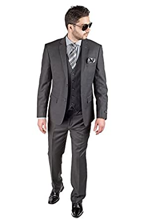 Slim Fit 3 Piece Vested Solid Dark Charcoal Grey Suit 2 Button ...