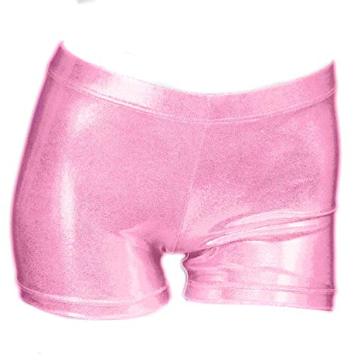 ZIZI Little Big Girls Sparkle Dance Tumbling Basketball Gymnastics Pink Short,120CM(6X-7Years)