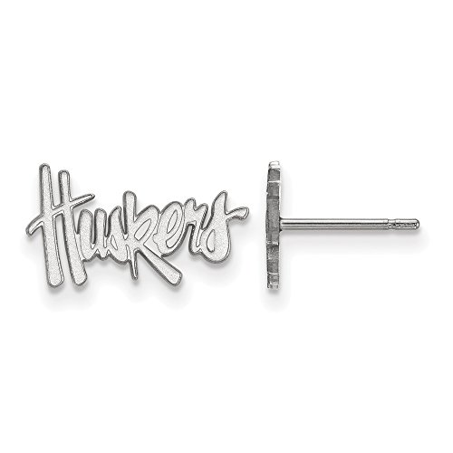 Jewelry Stores Network University of Nebraska Cornhuskers Mascot Name Post Earrings in Sterling Silver XS - (9 mm x 15 mm)