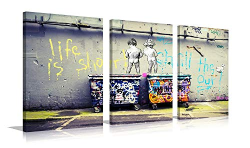 YPY Banksy Life is Beautiful Canvas Giclee Artwork 3 Panels for Modern Home Decor Stretched and Framed Ready to Hang Size 36(W) X 16(H) inches ()