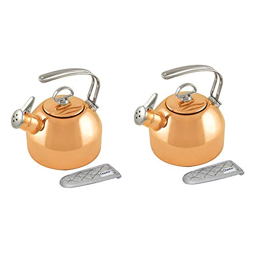 - Chantal Classic 1.8 Quart Harmonica Whistling Water Teakettle with Mitt, Copper (2 Pack)