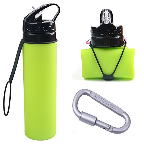 TENTA Kitchen BPA Free Foldable Silicone Collapsible Water Bottle With Aluminum Alloy Carabiner Climbing Screw Lock Hook For Travel,Camping,Sport - Heat Resistant from -40C to 100C - 20oz(600ml)