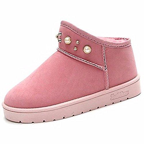 Bottes Talon Femmes Neige ZHUDJ Pink Bout Pour Rose Pour Rouge Piscine Gris Noir Plat Bottes Rond Chaussures D'Hiver wWBqX4Sq