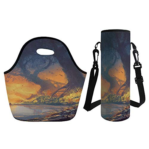 Thickers Root Beer - 3D Print Neoprene lunch Bag with Kit Neoprene Bottle Cover,Fantasy,Artistic Landscape Painting of Big Trees with Huge Roots at Sunset Beach Seaside,Orange Blue,for Adults Kids
