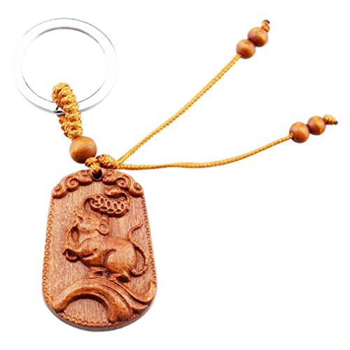 FOY-MALL Rosewood Carved Chinese Zodiac Animal Keychain Rat M1366