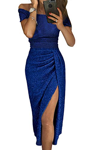 Douremifa Evening Prom Gown Metallic Sequin Shiny Midi Dress for Women Elegant Sexy Off Shoulder High Slit Ruched Party Club Dress Blue M