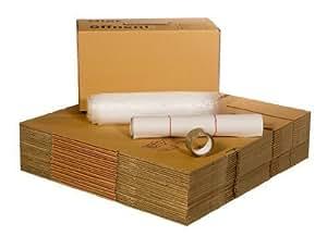 1 Paquete de reubicación (2 hasta Apartamento de 3 habitaciones) con 40 Cajas de mudanza Profesional + Película de acolchonamiento + Papel de tejido + Cinta adhesiva