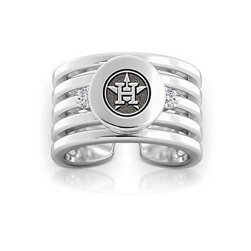 Bixler Houston Astros Astros Logo Engraved Multiband Cuff Ring (Have The Houston Astros Won A World Series)