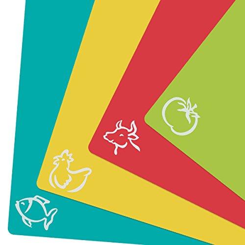 ZITFRI 4er Set Schneidebrett Kunststoff Schneidematte biegsam hygiene und rutschfest 38x30,5cm, getrennter Gebrauch für Lebensmittel wie Fisch / Gemüse / Geflügel / Fleisch