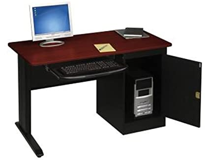 Sensational Balt Lx 48 Inch Wide Workstation With Locking Door Cpu Cabinet And Pull Out Keyboard Tray Mahogany Interior Design Ideas Skatsoteloinfo