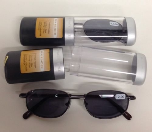 2 PAIRS PRIVATE EYES COMFORT FLEX SUN READER GLASSES W CASE 2.00 STRENGTH - Sun Readers Magnivision