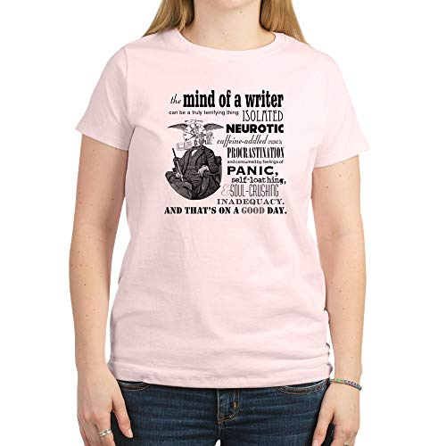 CafePress The Mind of A Writer T Shirt Womens Cotton T-Shirt, Crew Neck, Comfortable & Soft Classic Tee Light Pink
