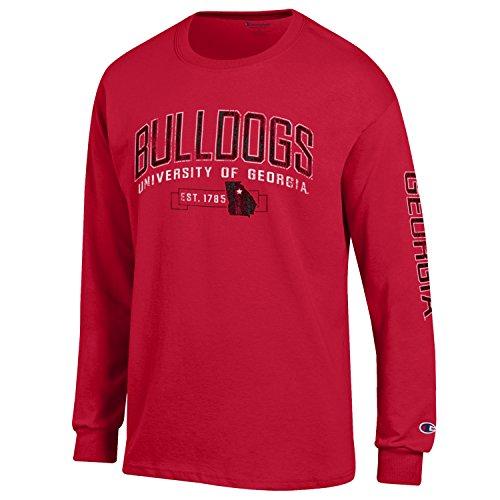 (NCAA Champion Men's Fair Catch Long Sleeve T-Shirt, Georgia Bulldogs, Large)